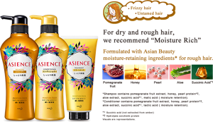 "ASIENCE For dry and rough hair, we recommend ""Moisture Rich"""