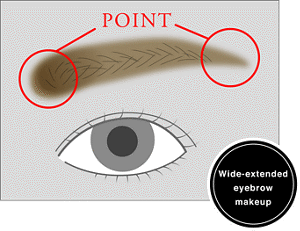 Wide-extended eyebrow makeup