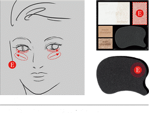 STEP5 Apply Shade E to the lower eyelid and cheek.