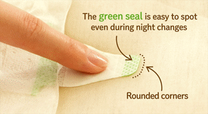 The green seal is easy to spot even during night changes.Rounded corners