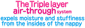 The Triple layer air-through system expels moisture and stuffiness from the insides of the nappy