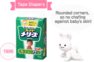 Tape Diapers 1996 Rounded corners, so no chafing against baby's skin!