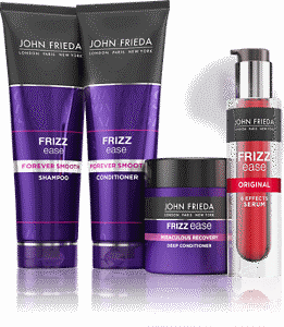 Selection of John Frieda Frizz Ease products of varying sizes and colours